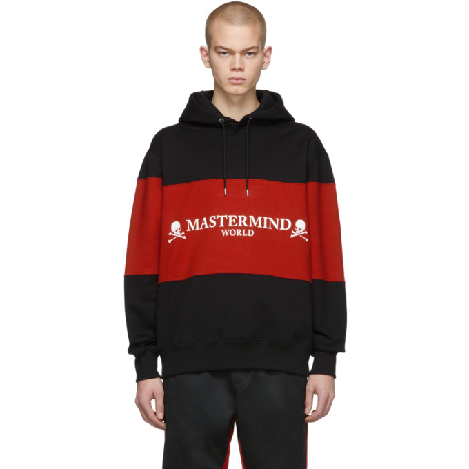 Mastermind Japan Tops MASTERMIND WORLD BLACK AND RED RUGGER HOODIE