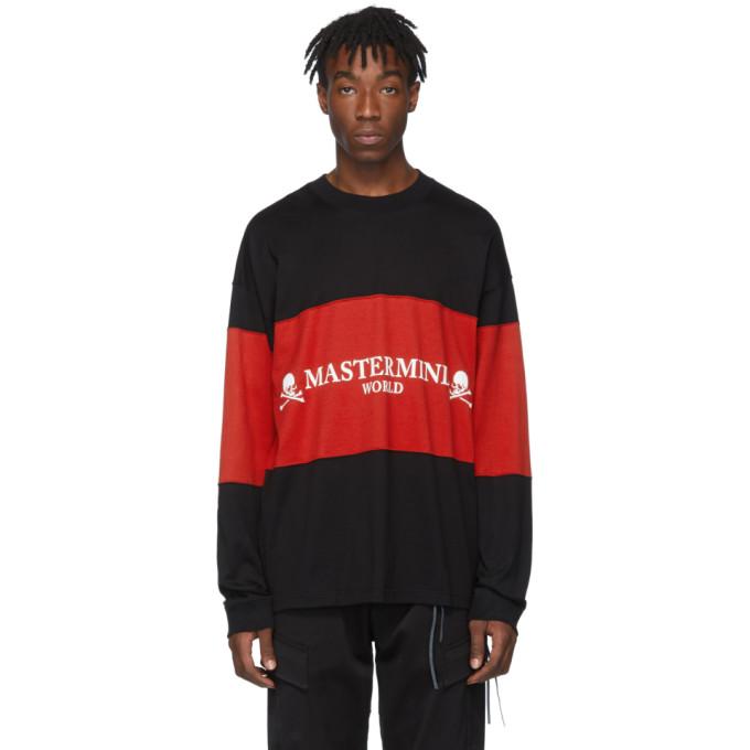 mastermind WORLD T-shirt a manches longues contraste noir et rouge Boxy