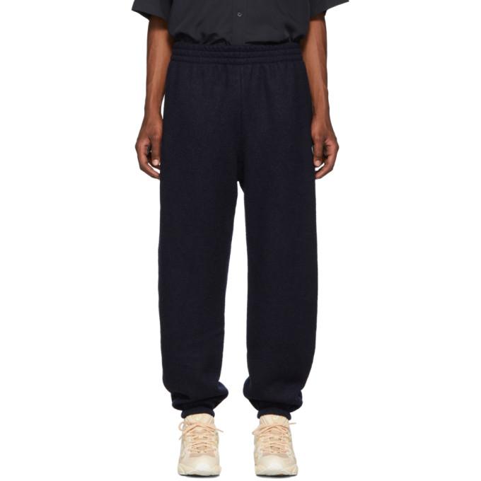 GmbH Pantalon de survetement a logo en laine bleu marine