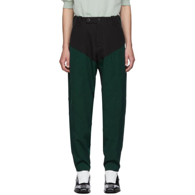 Kiko Kostadinov Pantalon en serge noir et vert Rhombus