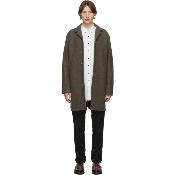 Schnaydermans Manteau en laine vierge brun Unconstructed