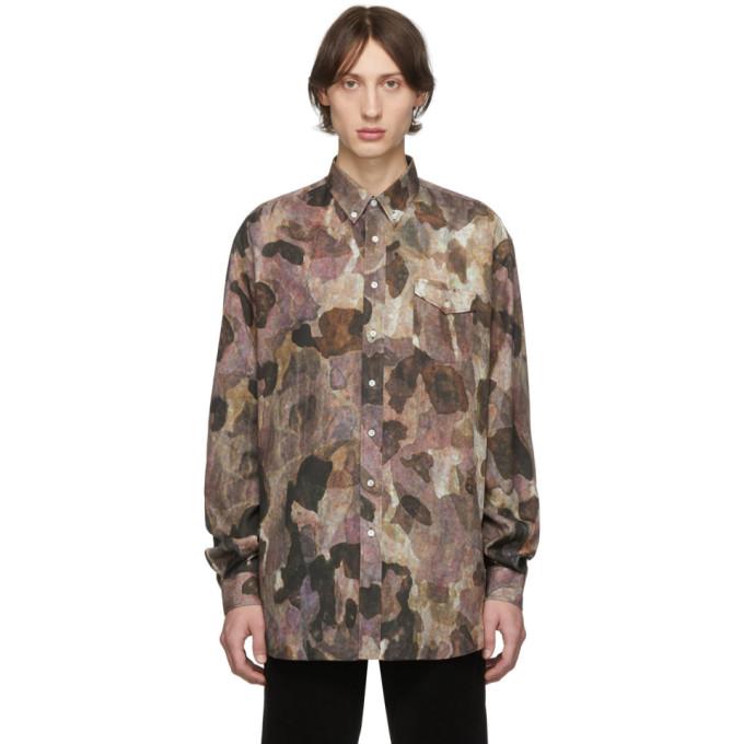 Schnaydermans Chemise surdimensionnee a motif camouflage bourgogne et noire