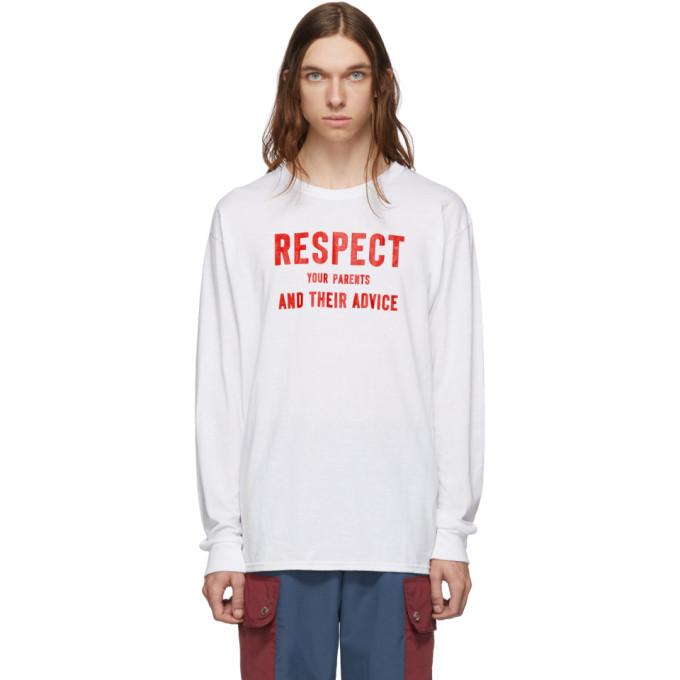 Landlord T-shirt a manches longues blanc Respect Your Parents