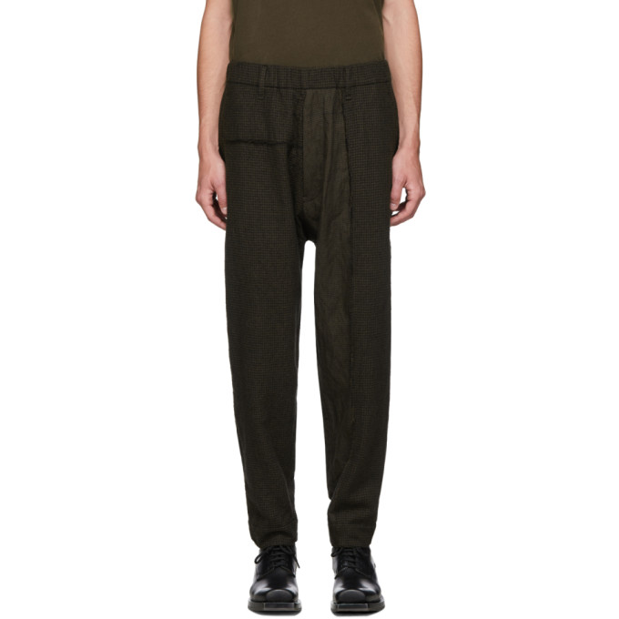 Ziggy Chen Pantalon a motif pied-de-poule en laine vert et noir
