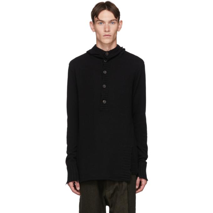 Ziggy Chen Pull a capuche en maille de cachemire noir