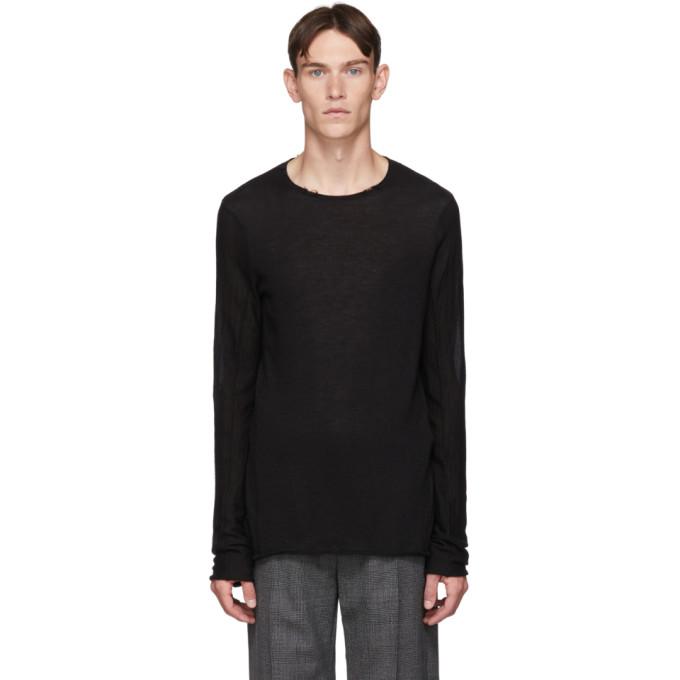 Ziggy Chen T-shirt a manches longues en cachemire noir