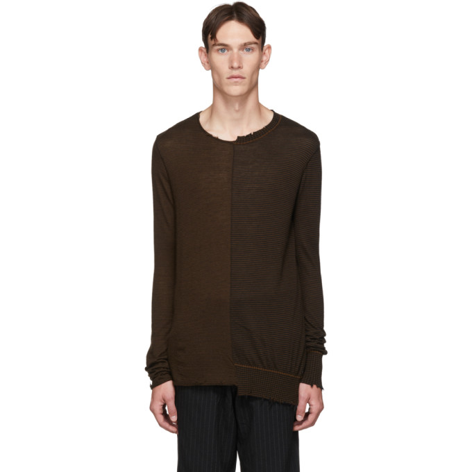 Ziggy Chen Pull en cachemire raye brun et noir
