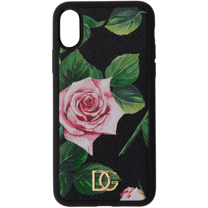 Dolce and Gabbana ブラック ローズ iPhone XS ケース