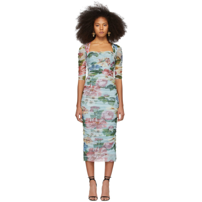 Dolce & Gabbana Ruched Floral-print Cotton-tulle Midi Dress In Hc1am Blue
