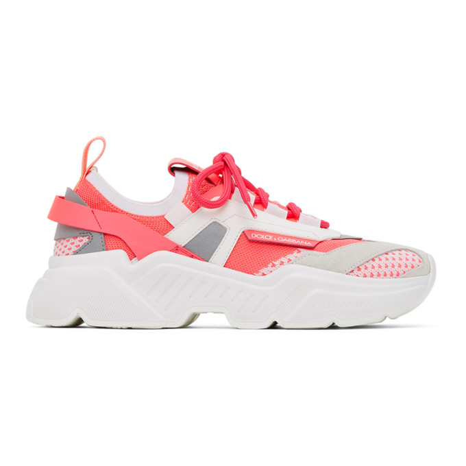 Dolce & Gabbana Dolce And Gabbana Pink Stretch Mesh Daymaster Sneakers In Fuchsia/white