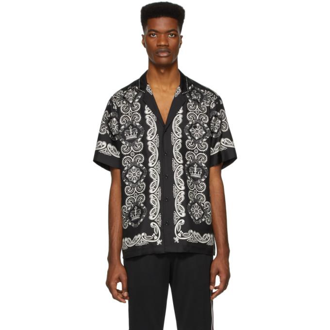 Dolce & Gabbana Men's Bandana-print Short-sleeve Silk Sport Shirt In Black ,white