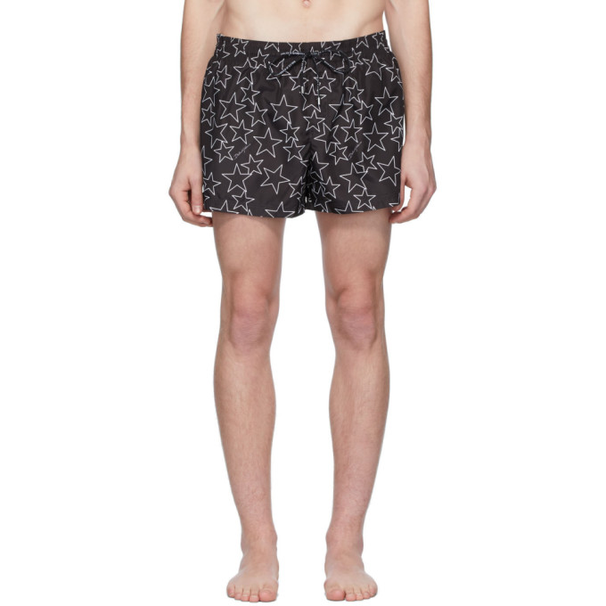 Dolce & Gabbana Dolce And Gabbana Black Allover Star Swim Shorts In Hn35c Stell