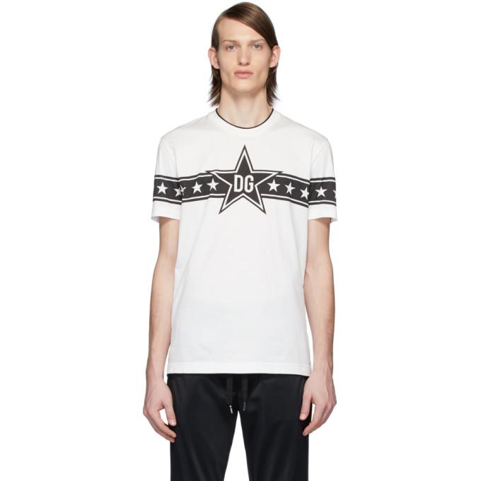 Dolce & Gabbana Tops WHITE 'DG STARS' MILLENNIALS T-SHIRT