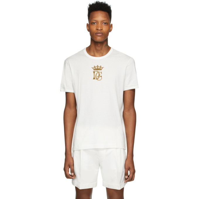 Dolce & Gabbana Dolce And Gabbana White Embroidered Logo T-shirt In W0111 White