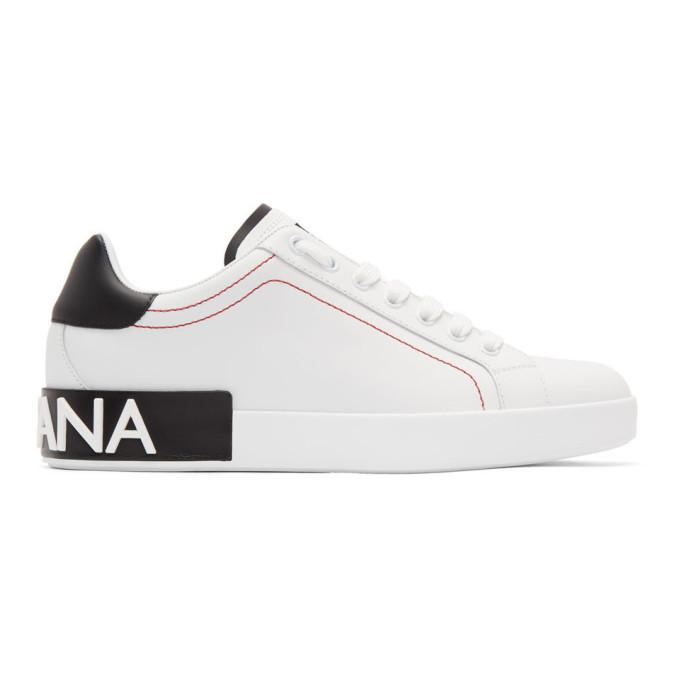 Dolce & Gabbana Men's Portofino Two-tone Leather Sneakers In White