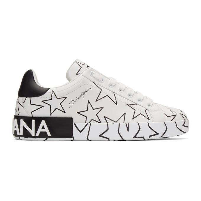Dolce & Gabbana Men's Millennials Star Portofino Two-tone Graphic Sneakers In White