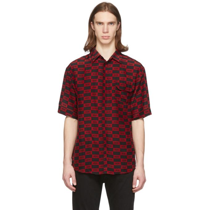424 Chemise a manches courtes et carreaux rouge et noire