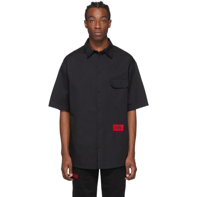 424 Chemise a manches courtes et logo noire