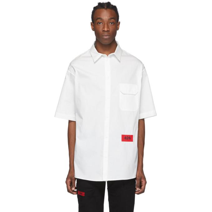 424 Chemise a manches courtes et logo blanche