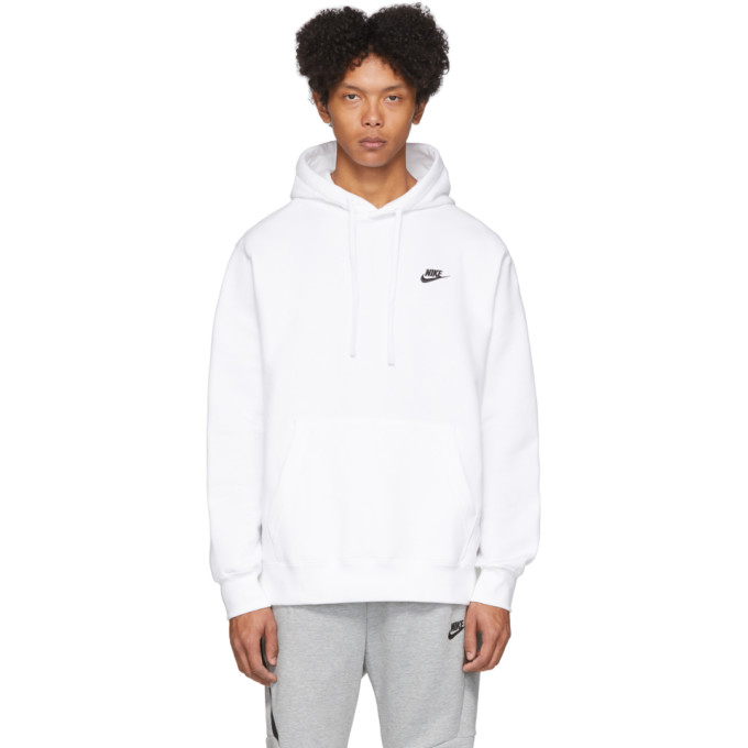 Nike White Fleece Sportswear Club Hoodie In 100 White