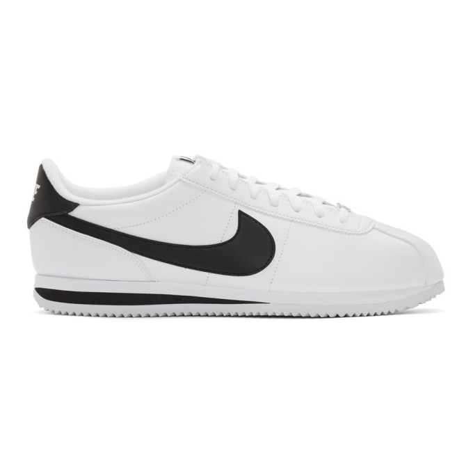 Nike Men's Cortez Basic Leather Casual Sneakers From Finish Line In 100Whitebla