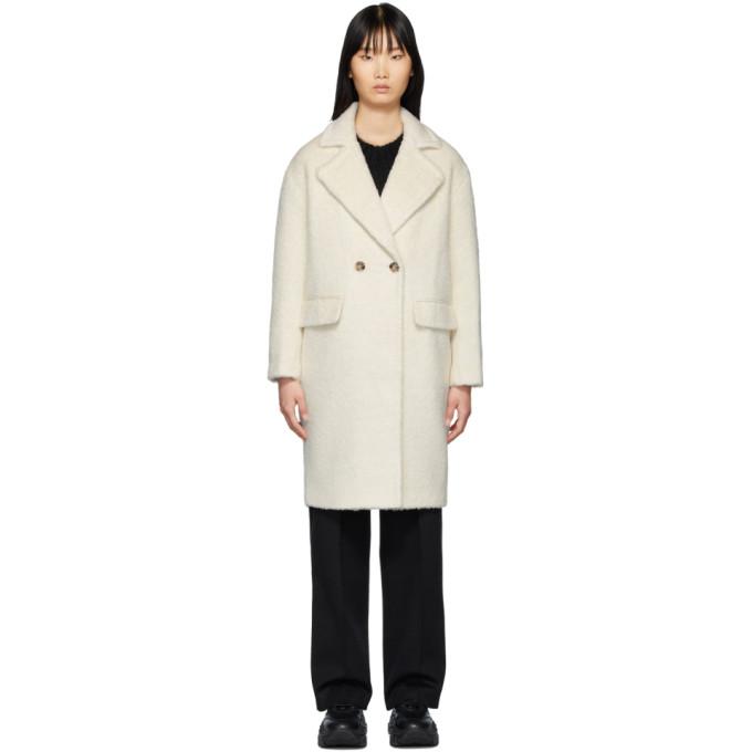 Mackage Manteau long en alpaga et laine blanc casse Eve