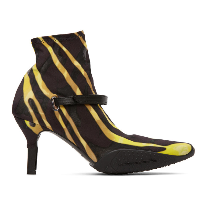 Marine Serre Black and Yellow Jersey Sock Ankle Heel Boots