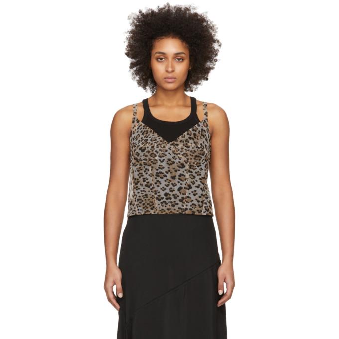 R13 Camisole a motif leopard beige Corset