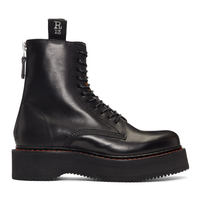 Buy R13 Black Single Stacked Platform Lace-Up Boots online