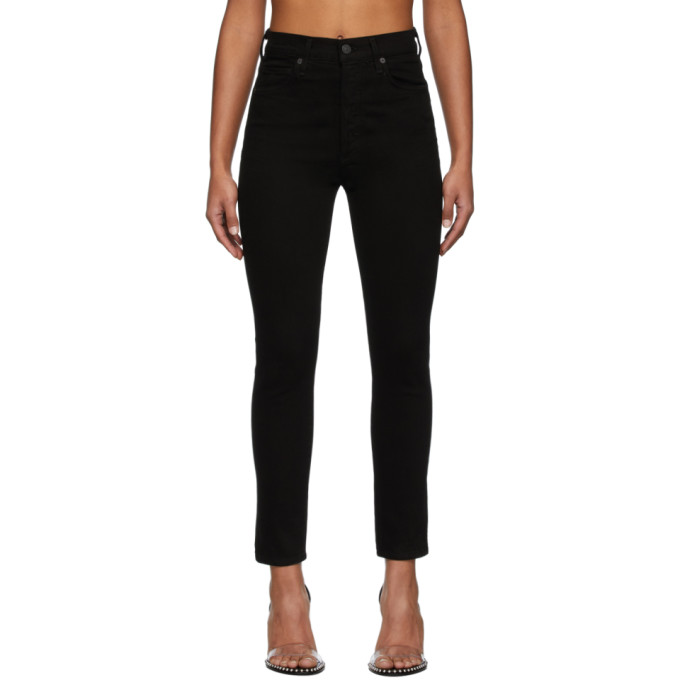 Citizens Of Humanity  CITIZENS OF HUMANITY BLACK OLIVIA HIGH-RISE SLIM ANKLE JEANS