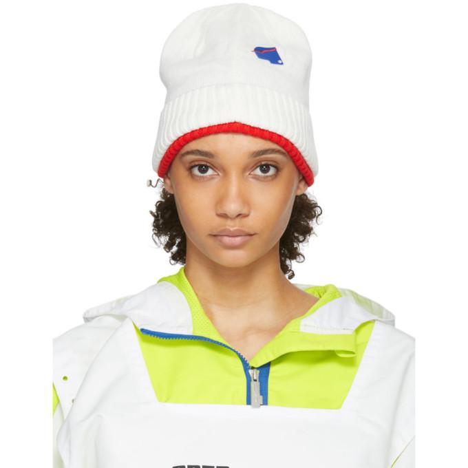 ADER error Bonnet en maille blanc et rouge edition Puma