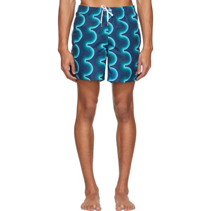 Bather Maillot de bain bleu marine Gradient Wave Pattern