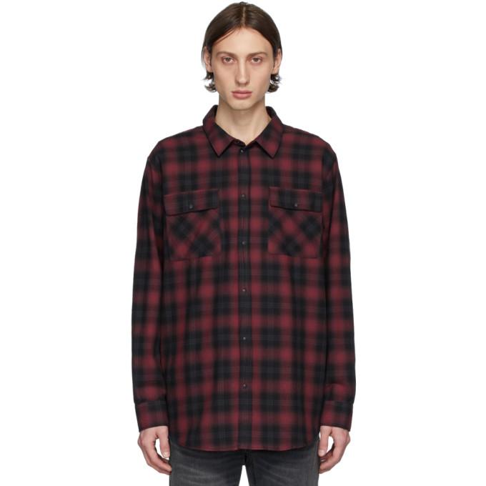 Nudie Jeans Chemise a carreaux noire et rouge Gabriel Shadow