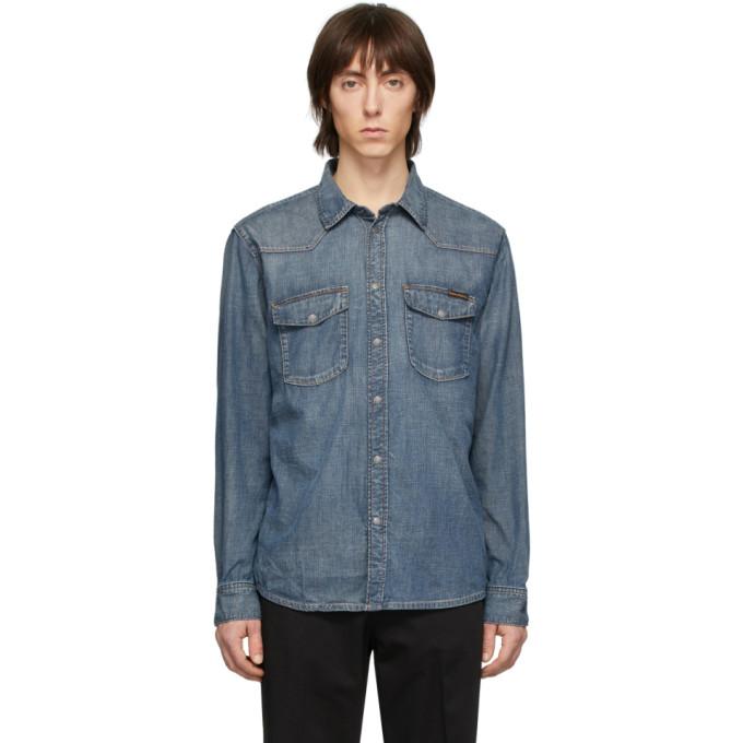 Nudie Jeans Chemise bleue George