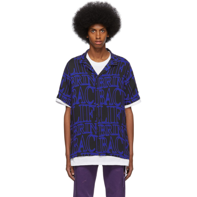 Ksubi Chemise en serge noire et bleue Bring Back Neon