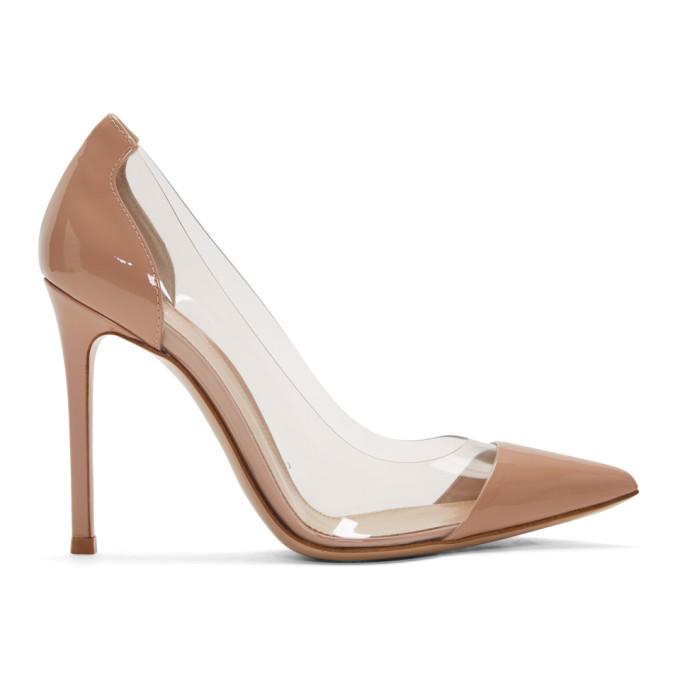 Buy Gianvito Rossi Pink Patent Plexi 105 Heels online
