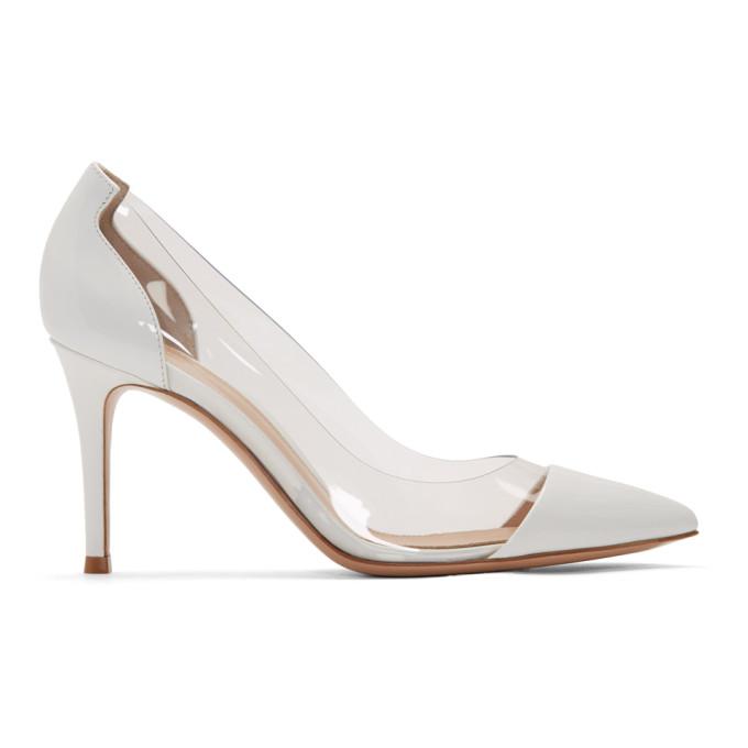 Buy Gianvito Rossi White Patent Plexi 85 Heels online
