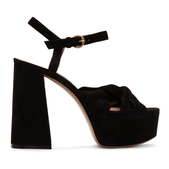 Buy Gianvito Rossi Black Suede Twisted 70 Heeled Sandals online