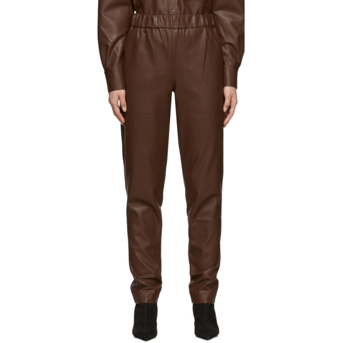 Tibi Faux Leather Jogger Pants In Brown