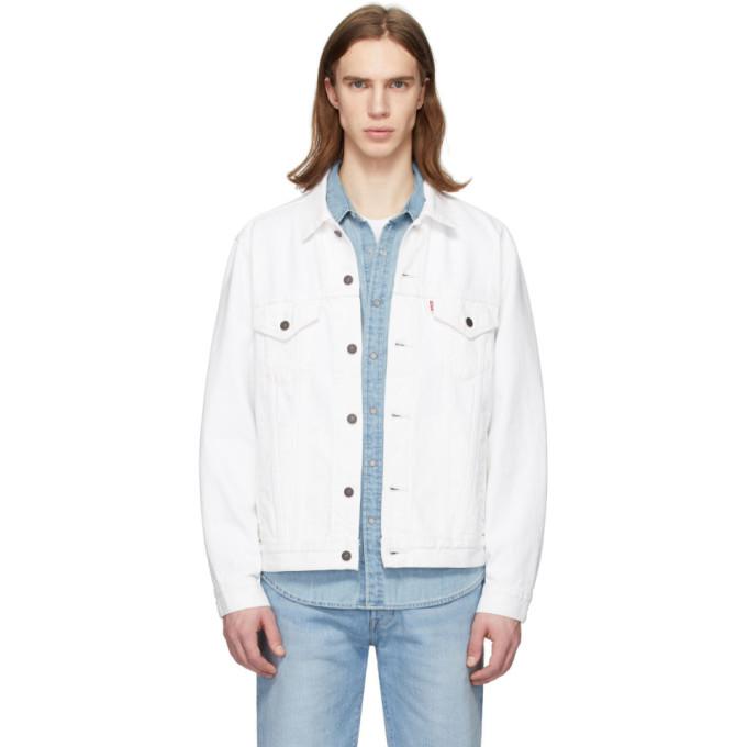 Levi's Levis White Denim Vintage Fit Trucker Jacket In V.whiteout