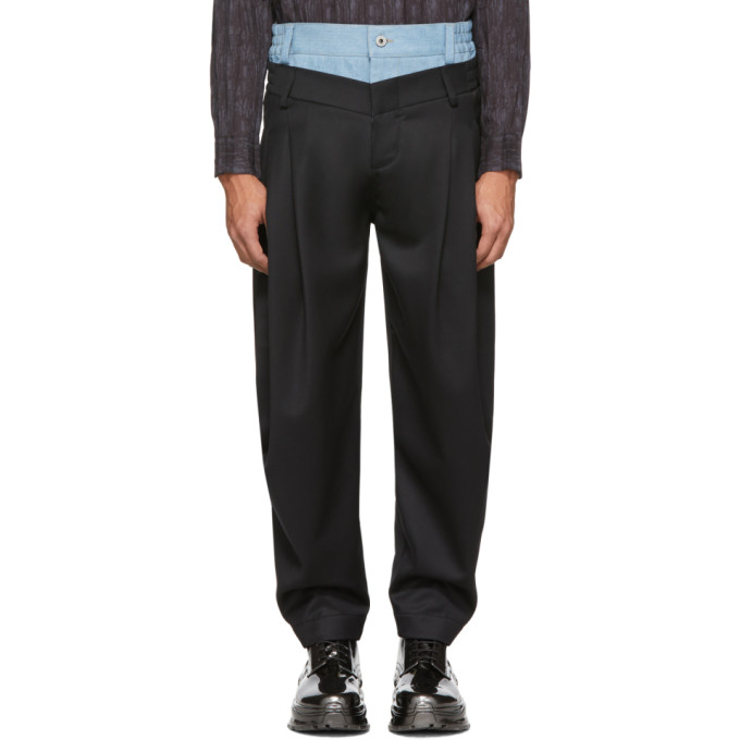 Feng Chen Wang Pantalon en laine et denim noir Mix