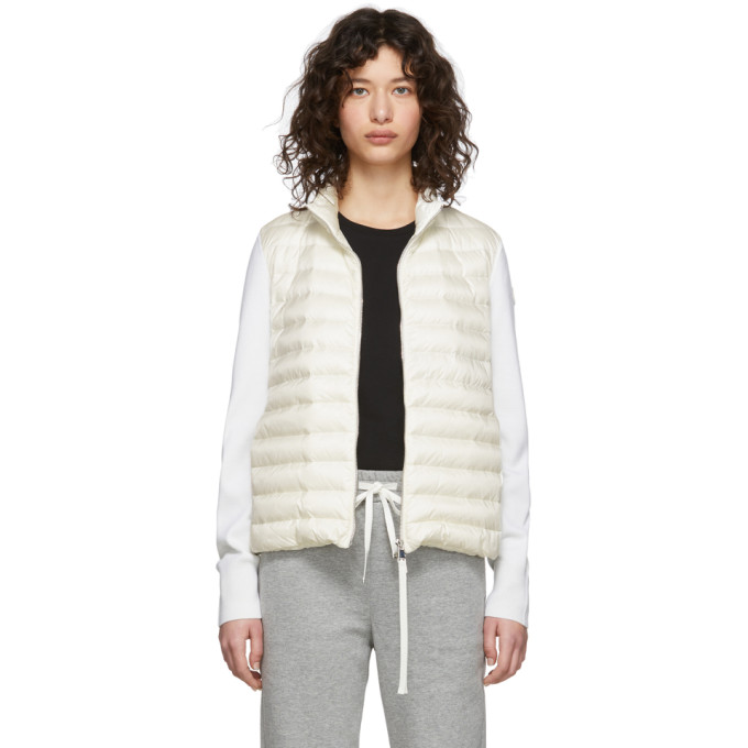 Moncler Moncler Off-White Down Knit Zip-Up Jacket