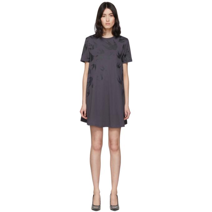McQ Alexander McQueen Black Swallow T-Shirt Dress