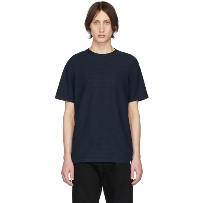 Norse Projects T-shirt bleu marine Jacquard Niels