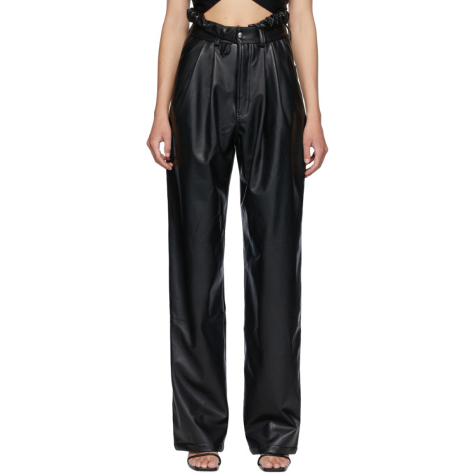Markoo Pantalon en cuir synthetique noir The Pleat