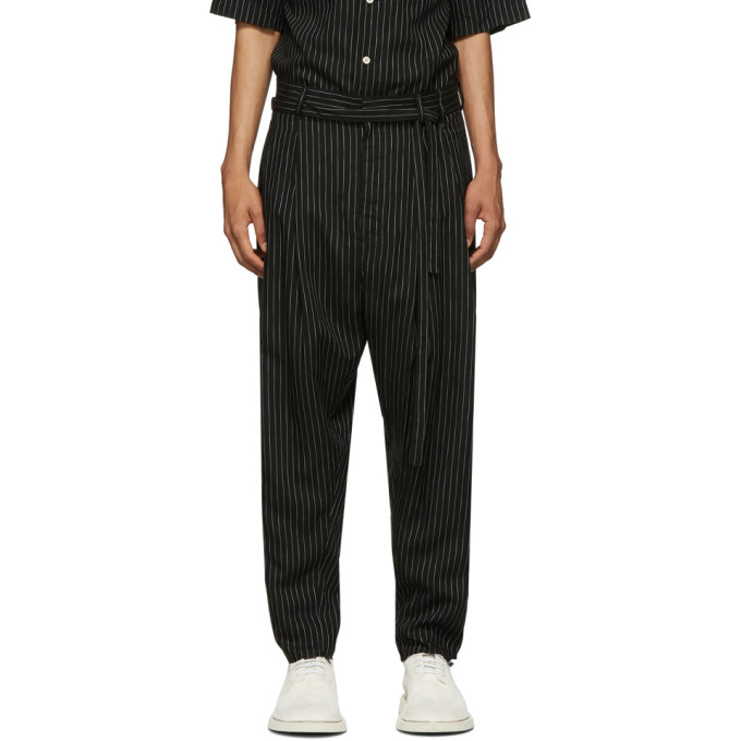 BED J.W. FORD Pantalon raye noir Two Tuck