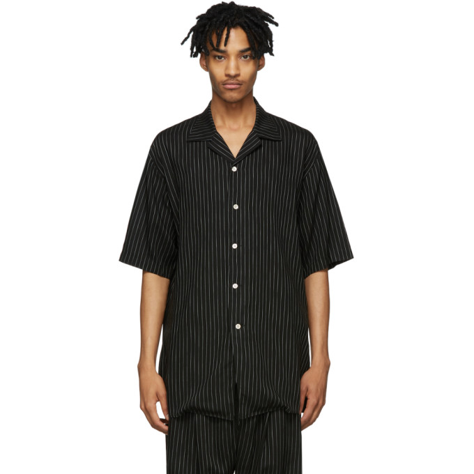 BED J.W. FORD Chemise a manches mi-longues rayee noire