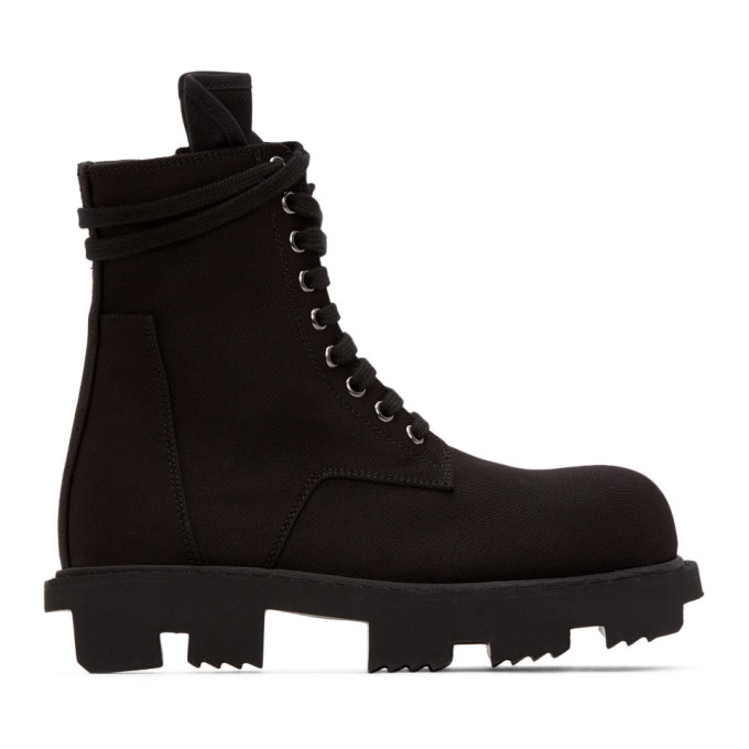 Buy Rick Owens Drkshdw Black Twill Boots online
