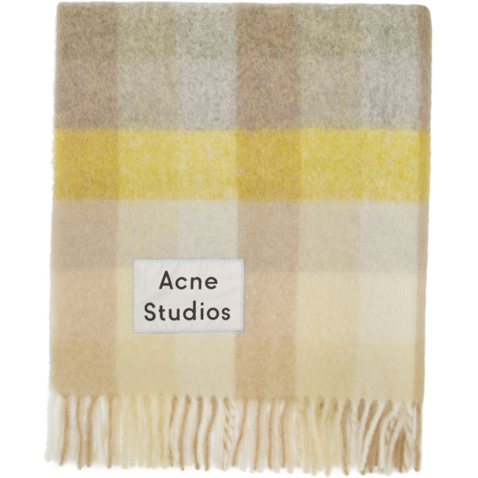 Acne Studios Foulard jaune et gris Blanket