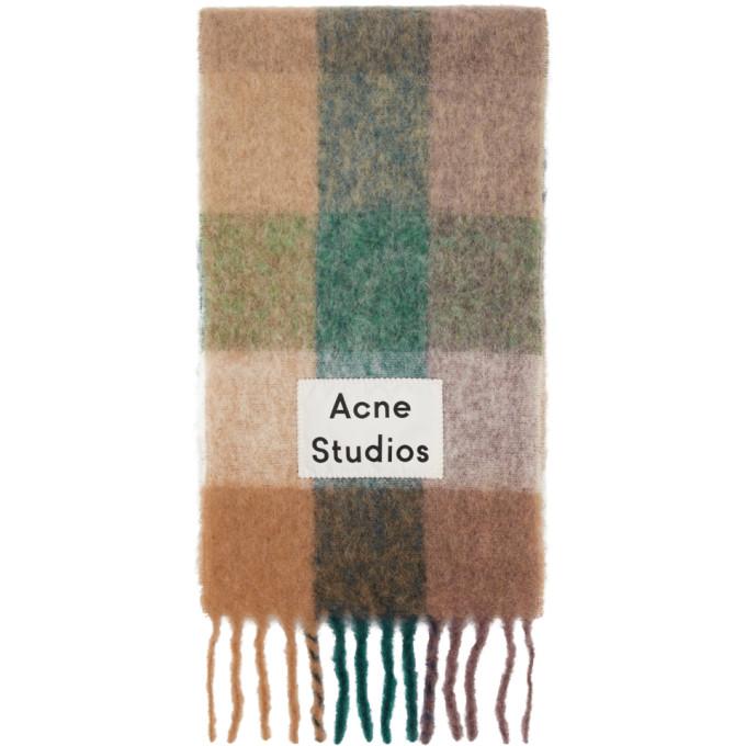 Acne Studios Foulard bleu et mauve Valley
